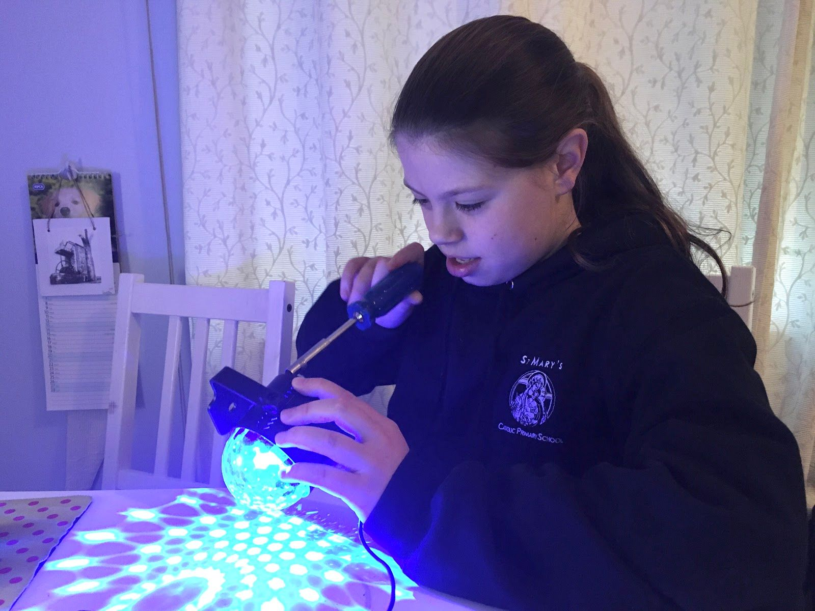 Dahlia hard at work on her latest physical computing project.