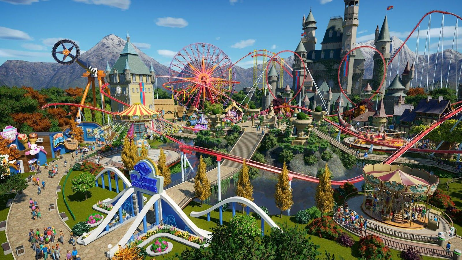 A series of rollercoasters in Planet Coaster, one of the games Stuart Fraser worked on.
